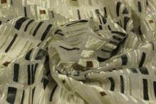 Šifón šedozelený, zamatový vzor, š.140