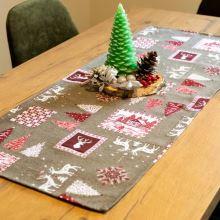 Štola béžová, bílo-červený vánoční motiv, 40x100 cm