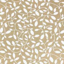 Dekorační látka s teflonovou úpravou hnědá, bílé listy, š.160