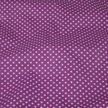Bavlna fialová, drobný bílý puntík, š.140