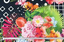 Bavlna černá, květinový a geometrický vzor, š.130