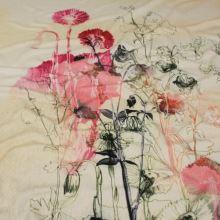 Úplet smotanovo-žltý, ružové kvety, bordúra, š.150