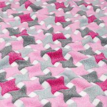 Fleece šedo-růžový vzor, š.150