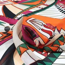 Šifon barevný, oranžovo-růžový vzor, š.150