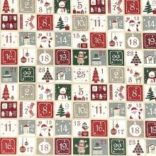 Plátno vzorované, adventný kalendár, š.140