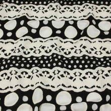 Úplet smotanovo-čierny vzor, š.150