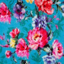 Úplet aqua, rozpité květy, š.150