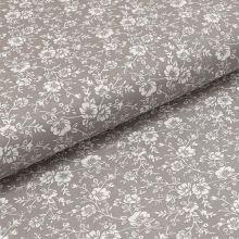 Bavlnené plátno šedé, biely kvetinový vzor, š.140