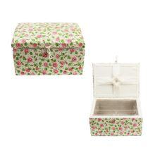 Kazeta na šití, růžové drobné květy, 900030-58