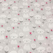 Bavlna šedá, bílé kočky, š.160