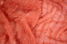 Šifon lososový, výšivka s flitry, š.150