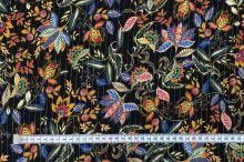 Šatovka černá, kašmírové květy, zlatý lurexový proužek, š.135