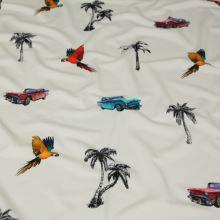 Úplet bílý, papoušci, auta a palmy, š.145