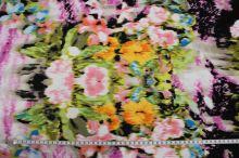 Úplet  růžový, barevný květinový vzor, š.145