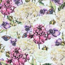 Dekoračná látka P0543 biela, farebné kvety, š.140