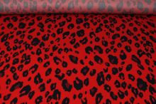 Šatovka červená, navy zvířecí vzor, š.145