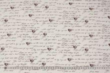 Bavlněný krep bílý, hnědé nápisy a srdíčka, š.140