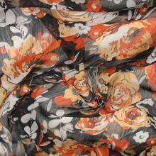 Šifon černý, oranžový květ š.150
