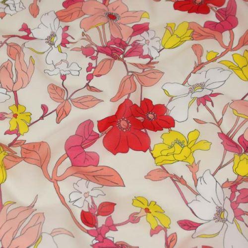 Šifon krémový, červeno-žluté květy, š.150
