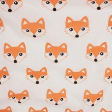 Bavlna bílá, oranžové lišky, š.160