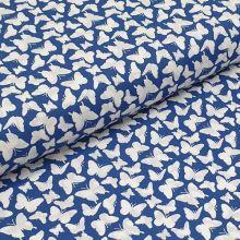 Bavlněné plátno modré, bílí motýlci, š.140