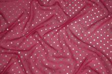 Hedvábný šifon růžový, stříbrný puntík š.135