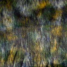 Umělá kožešina, modro-žlutý melír, š.160