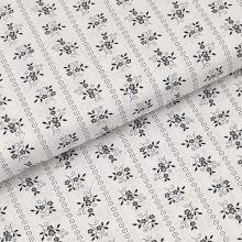 Bavlnené plátno biele, čierny kvetinový motív, š.140