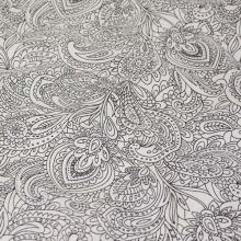 Bavlna bílá, černý kašmírový vzor, š.140