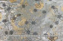 Hedvábí stříbrné, našívané flitry, š.135
