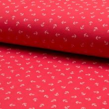 Úplet červené piké, bílé kotvičky, š.165