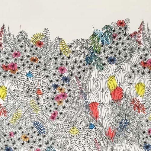 Šatovka biela, kvetinový vzor, š.150