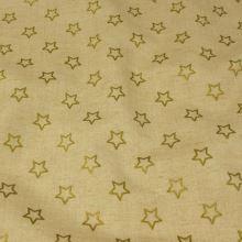 Dekorační látka béžová, zlaté hvězdy, š.140