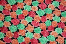 Šatovka květy zelené, červené, oranžové š.150
