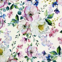 Šatovka SILKY biela, farebné kvety, š.145