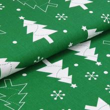 Bavlnené plátno zelené, biele vianočné stromy, š.160