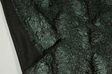 Kožušina zeleno-čierna so vzorom, š.140