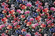 Šatovka čierna, farebný kvetinový vzor, š.140
