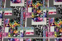 Úplet barevný, květiny a obdélníky, š.150