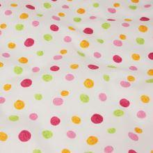 Bavlna bílá, barevné puntíky, š.140