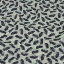 Košilovina světle zelená, drobná modrá peříčka, š.150