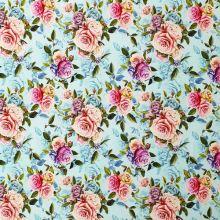 Úplet svetlo modrý, kvetinový vzor, š.175
