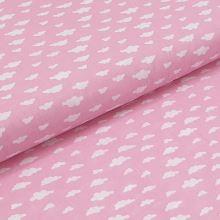Bavlnené plátno ružové, biele oblaky, š.140