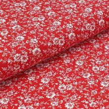 Bavlnené plátno červené, biely kvetinový vzor, š.140