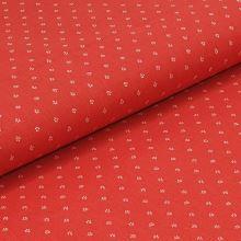 Bavlněné plátno červené, bílý drobný vzor, š.140