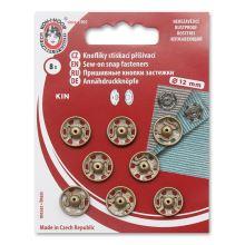 Gombíky stláčacie našívacie KIN Ms priemer 12mm, metalicky zlaté, (v.4) 8ks