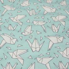 Dekorační látka mint, bílý pták origami, š.140