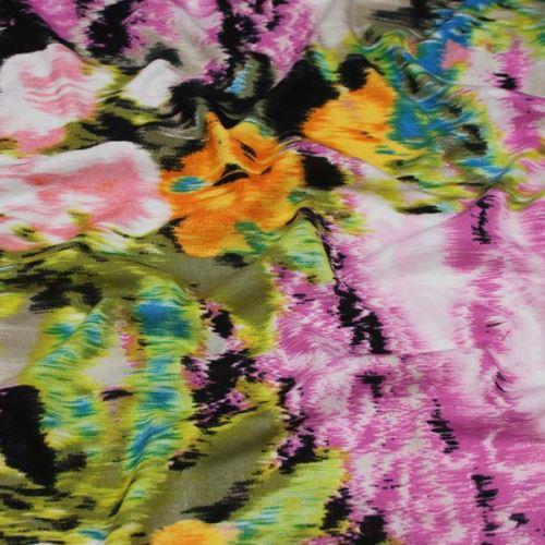 Úplet ružový, farebný kvetinový vzor, š.145
