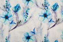 Len bílý, aqua květy a listy, š.135
