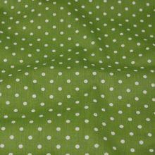 Bavlna zelená, bílý puntík, š.140